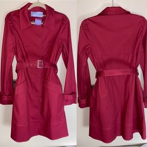 🆕.Vera Wang Lavender Label Red Trench Belted 10